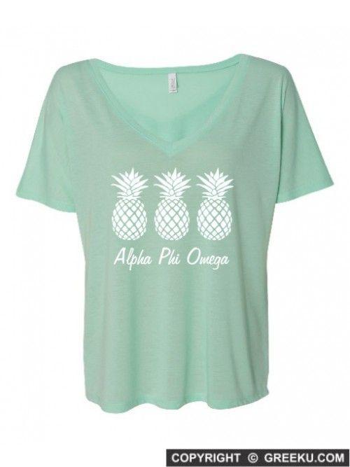 Alpha Phi Omega Pineapple Slouchy V-Neck Tee