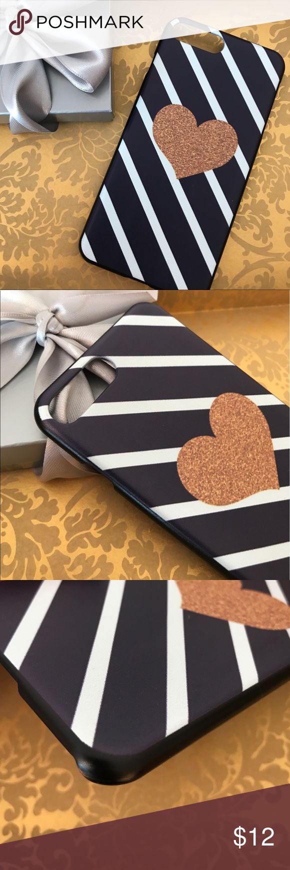 GOLD HEART STRIPE IPHONE 7 7+ PLUS CASE LUXURIOUS GOLD HEART STRIPE IPHONE 7 7+ PLUS CASE LUXURIOUS. 🎀 MADE IN USA 🎀 HARD PLASTIC CASE 🎀 HOGH BOUTIQUE QUALITY 🎀 PICTURE OF THE ACTUAL ITEM Accessories Phone Cases