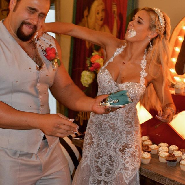"""""""She was so mad...... But you have to establish dominance !!!"""" -  On July 30, 2016, Miroslav Barnyashev (WWE Superstar Alexander Rusev) married girlfriend CJ Perry (WWE Diva Lana) on the beach in Mailbu, CA. They had a unique circus themed reception. The couple announced their engagement on social media in October 2015. They will have a second wedding ceremony in his native Bulgaria later this year. #WWE #Weddings"""