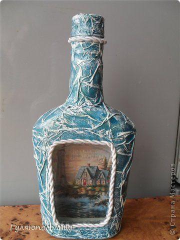 Декор предметов Декупаж Натворила №-15 Бутылки стеклянные Краска Салфетки фото 6