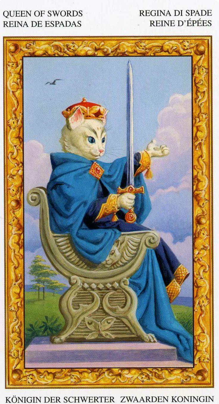 La reine d'épées - Tarot chats blancs par Severino Baraldi
