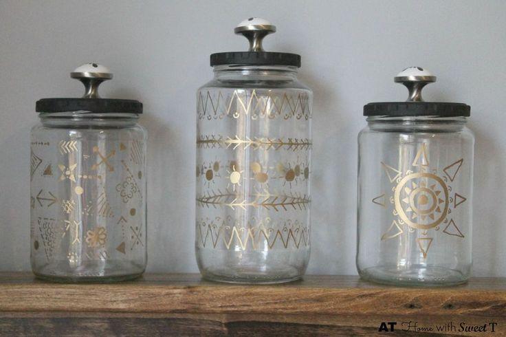 Repurpose used jars to create Boho+Jars. Spray paint lids black and add drawer pull knobs.