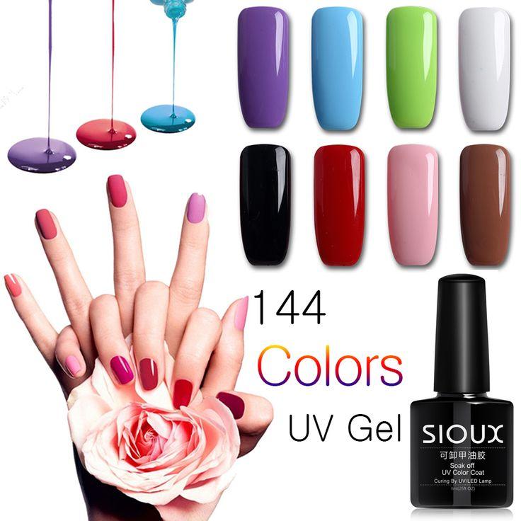 2017 SIOUX 8ml Gel Nail Polish Varnish Professional UV Gel Polish Nail Lucky Gel Lacquer Primer Matte Top Base Set #25-48