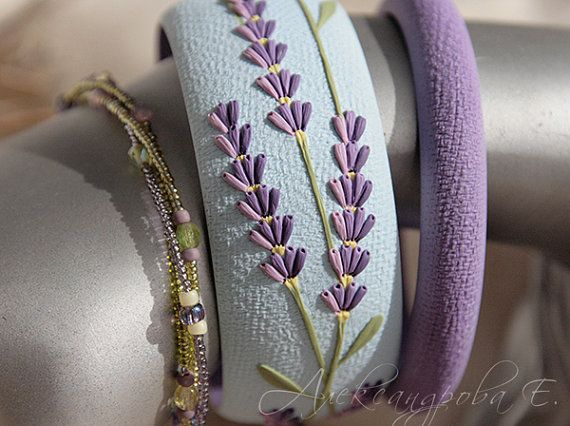 Bangle set Lavender - 3pcs -  Polymer clay floral  bracelets - Lilac flowers - Sky-blue bangle - Multi strand beaded bracelet