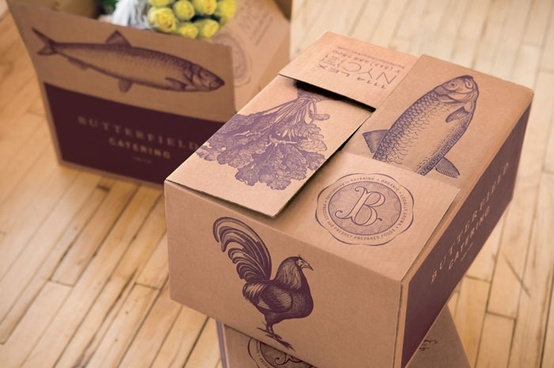 Large boxes with prints with buns, sandwiches etc inside?