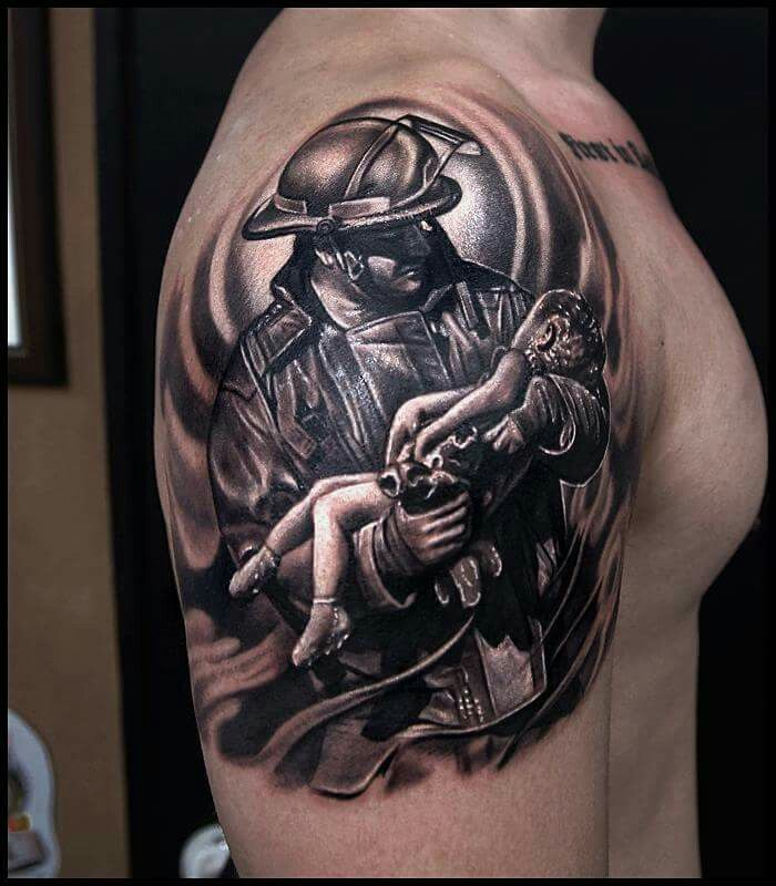 firefighter tattoo.by Tattooist Reo insta:tattooist_reo  If you're a Firefighter, check out this Firefighter collection, you may like it :)  Here's link ==> https://etsytshirt.com/firefighter  #firefighter #firefighters #fireman