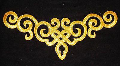 metallic gold embroidery patch lace applique motif venise irish dance costume
