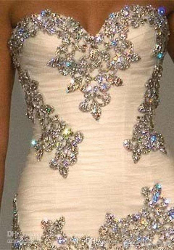 Bling cristal Sirena Sweetheart Perla brillo de diamantes de imitación Personalizado Boda Vestido