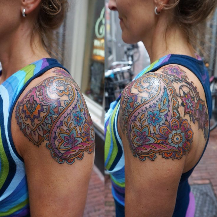 I covered up Karins' old tribal tattoo with a colorful paisley pattern.