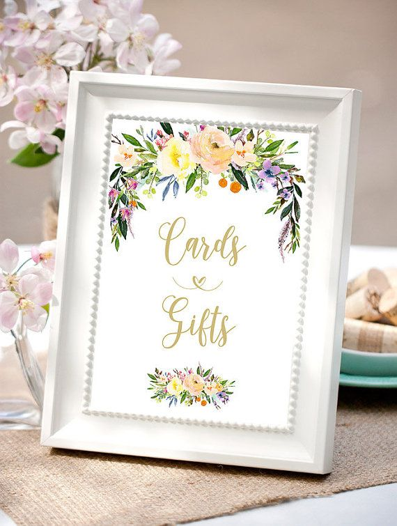 Bridal shower table signs Cards and gifts sign by Papierscharmants