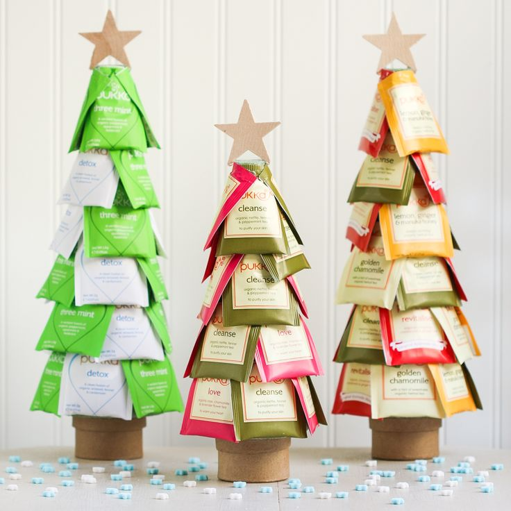 Christmas Tea Trees, using rubber cement instead of hot glue will be easier for gift recipient to use the tea:
