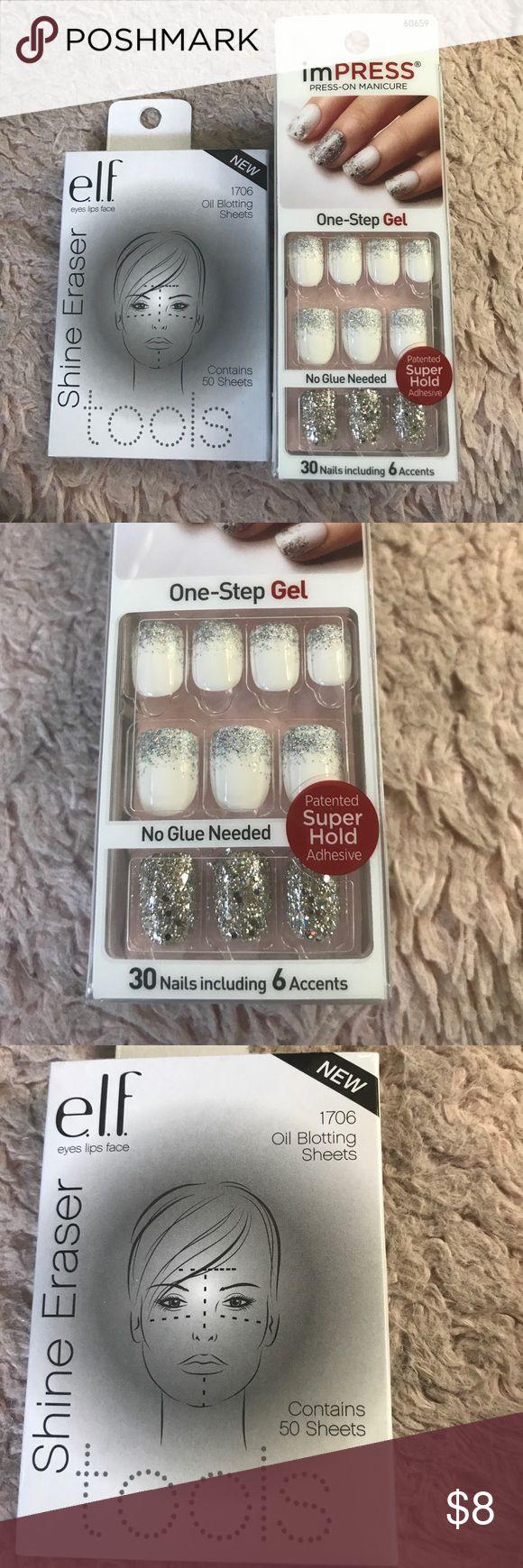 Beauty Bundle NWT - Impress 1 -Step Gel Nails and ELF Oil blotting sheets for face Impress Makeup Face Primer