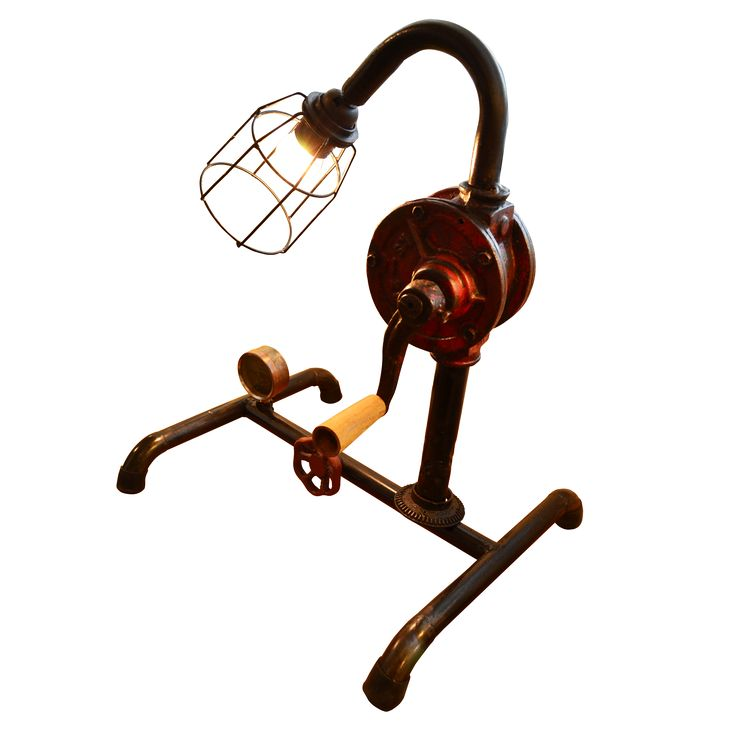 Pump Oil Lamp. A unique Table Lamp creatively assembled with pipes and rotary handle.