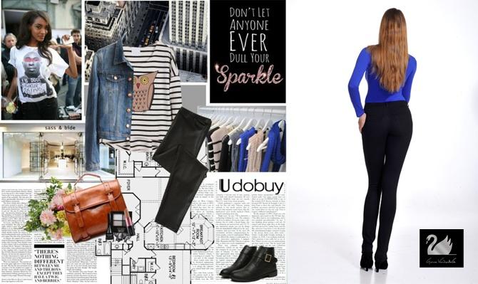 Μαύρο ελαστικό παντελόνι GLORIA