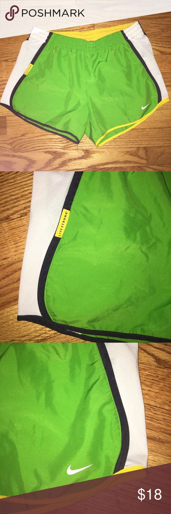 Women's Nike Livestrong running shorts Comfortable Dri-Fit running shorts with Livestrong logo. Only worn a few times. Nike Shorts