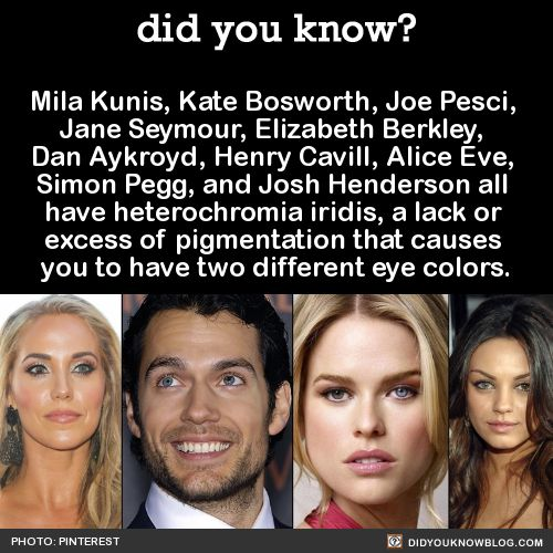 Mila Kunis, Kate Bosworth, Joe Pesci,  Jane Seymour, Elizabeth Berkley,  Dan Aykroyd, Henry Cavill, Alice Eve,  Simon Pegg, and Josh Henderson all  have heterochromia iridis, a lack or  excess of pigmentation that causes  you to have two different eye colors.  Source Source 2 Source 3  Hey Tumblr! Happy Different Colored Eyes Day!   Do you have heterochromia? I hear it's a result of inbreeding. Yay!