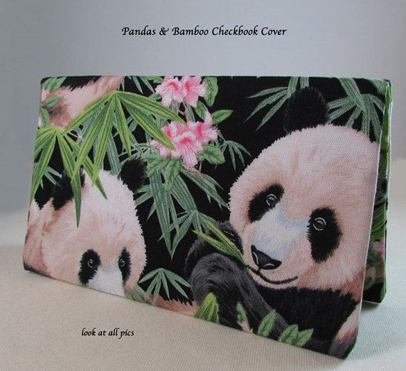 TEDDY BEARS CHECKBOOK COVER  PANDA BEAR  NEW FABRIC