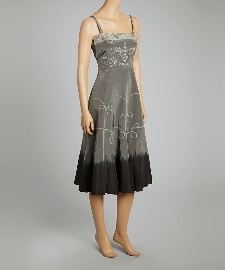 Silver & Black Floral Embroidered Empire-Waist Dress. So pretty.