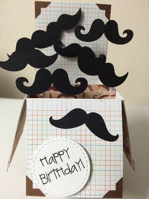 Mustache Card Birthday card in a box. A by MessagesAndMemories