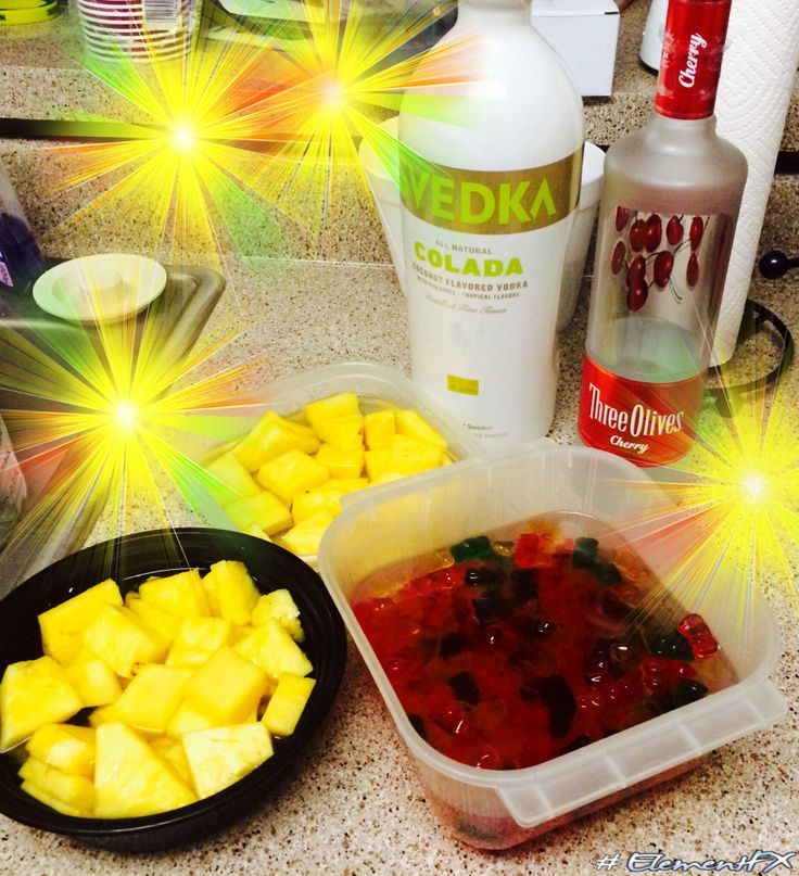 Pineapples soaked in coconut vodka and drunk gummys soaked in cherry vodka @Annie Harnish @Heather Carrier  for our camping trip!
