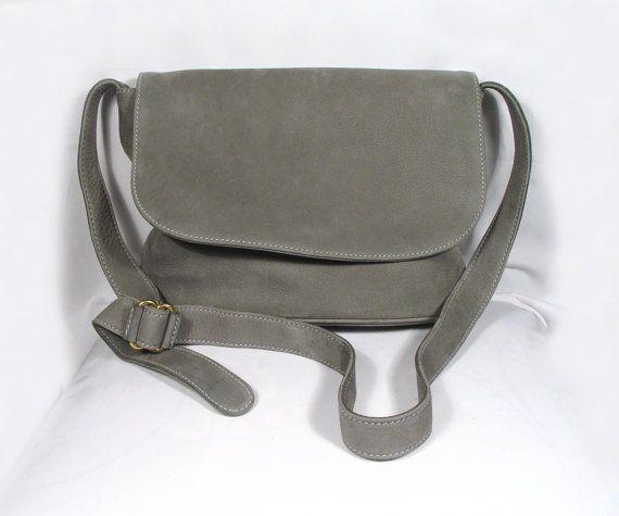 Vintage Coach Sonoma Grey Nubuck Leather Flap Bag
