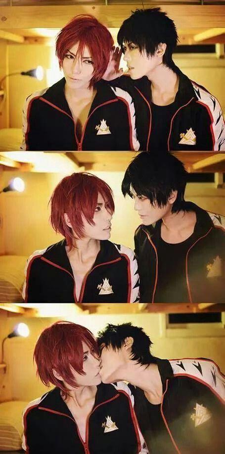 Sousuke x Rin | Free! | kiss | cosplay | yaoi | Yamazaki ...