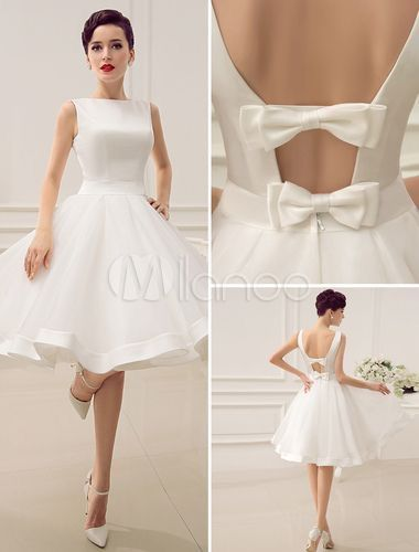 Cut Out Backless Satin Short Wedding Dress with Bow Decor Sash Silhouette A-line  Neckline Bateau  Train length Knee length Waist Natural  Embellishment Cutouts, Piping bows  The perfect reception dress