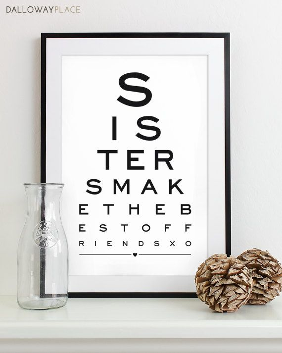 images of maid of honor gifts from the bride | Maid of Honor Gift For Sister Art Print Eye Chart - quote art ...