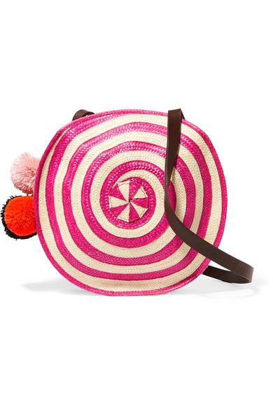 Pink and ecru raffia, dark-brown leather Snap-fastening at open top Due to the unique nature of the design, these pieces may differ from that pictured Imported