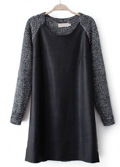 Black Long Sleeve Contrast PU Leather Sweater Dress pictures