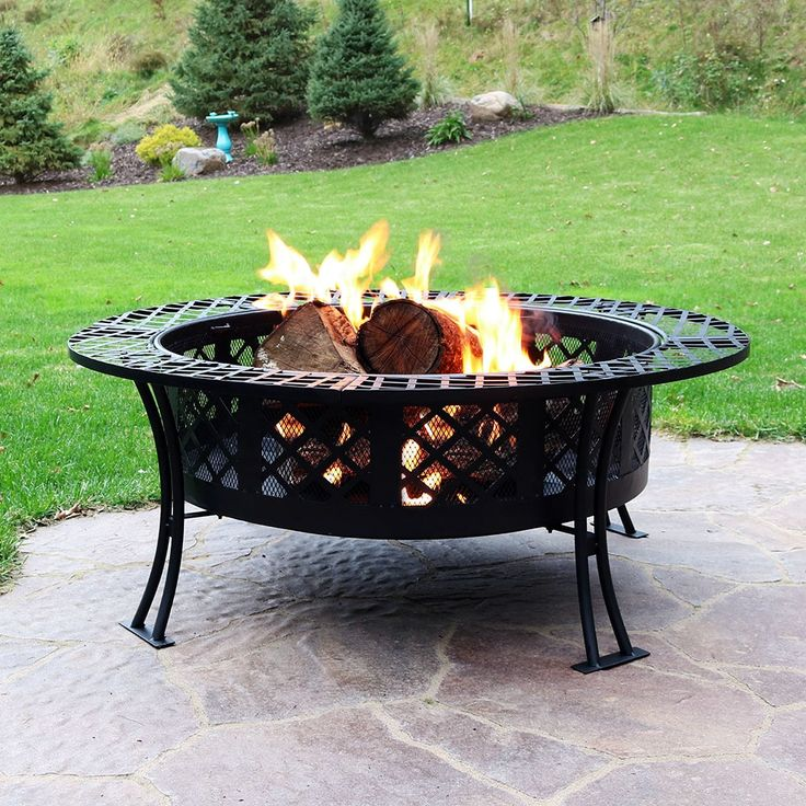 Diamond Weave Large Patio Fire Pit with Spark Screen, 40