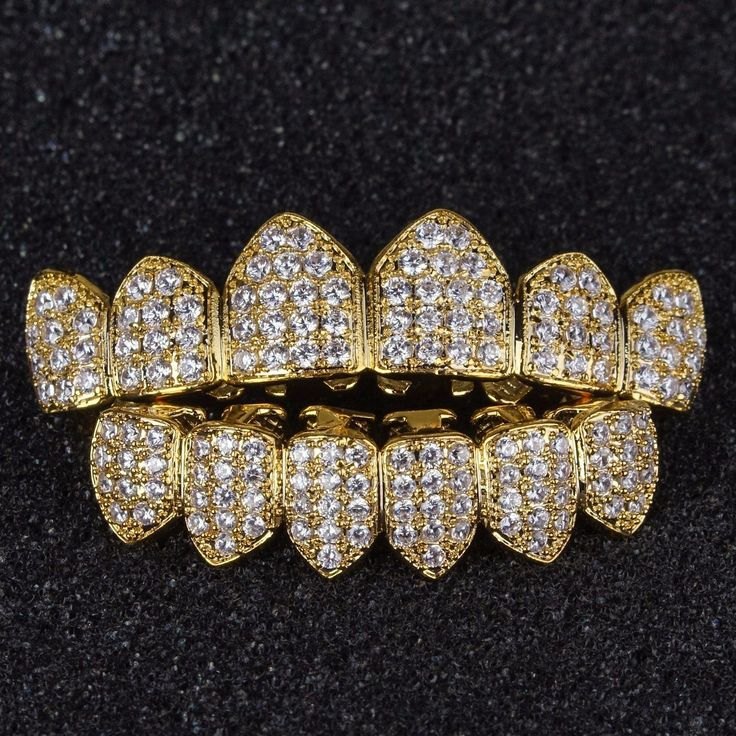 18K GP CZ Top & Bottom Iced Out GRILLZ Set