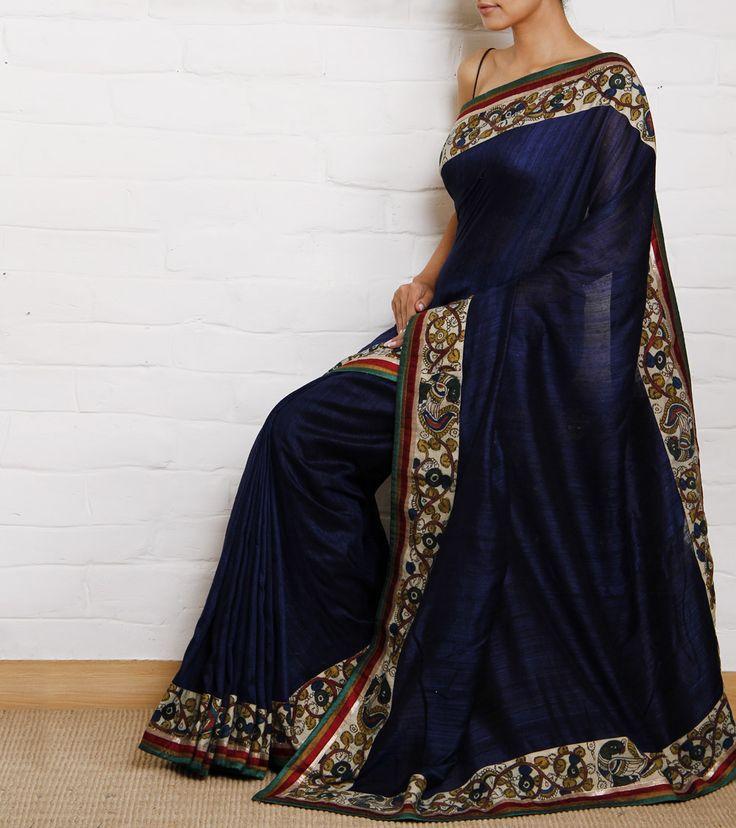Indigo Handwoven Silk Saree with Kalamkari