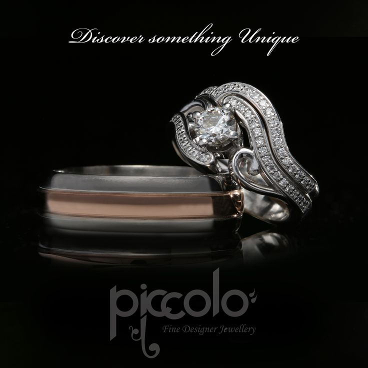 "Discover something Unique Frans-Mari | ""Whatever their souls are made of, his and hers are eternally entwined"" Hers ~ Diamonds and White Gold wedding ring set. His ~ Titanium with Rose Gold inlay For a free consultation to design your unique wedding rings, send us an email 