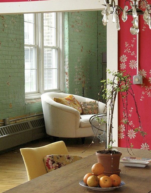 Loving the mint exposed brick paired with the pink wallpaper!
