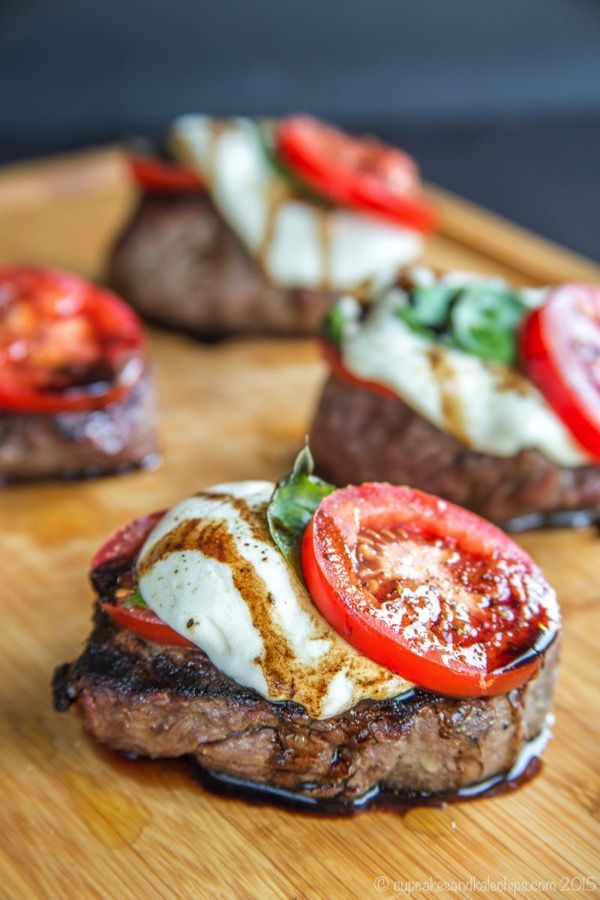 Caprese Grilled Filet Mignon - top perfectly grilled steaks with the classic salad of tomatoes, fresh mozzarella, and basil for a perfect summer dinner. #GrillTalk #SundaySupper | http://cupcakesandkalechips.com | gluten free, low carb recipe