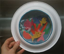 Aquarium Paper Plate Diorama Craft - even has creature templates!! easy for kids and takes a good amount of time. Even longer if you let them decorate the cutouts with glitter, shiny stickers, googly eyes.  think about using crinkle shiny ribbon for seaweed instead of all paper. could def take to the next level