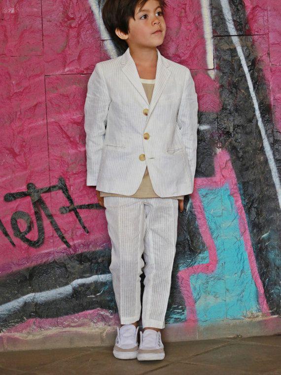 Boys white linen pants/Kids formal wear linen trousers/Toddler boy linen clothing/Boy occasion wear suit pants/Pants for wedding/Dress pants