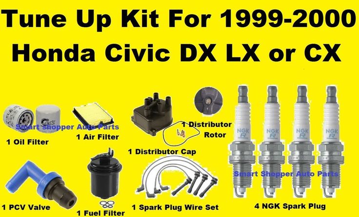 1999-2000 Honda Civic LX DX CX Tune Up Kit: Spark Plug Wire Set, Air Oil Filter