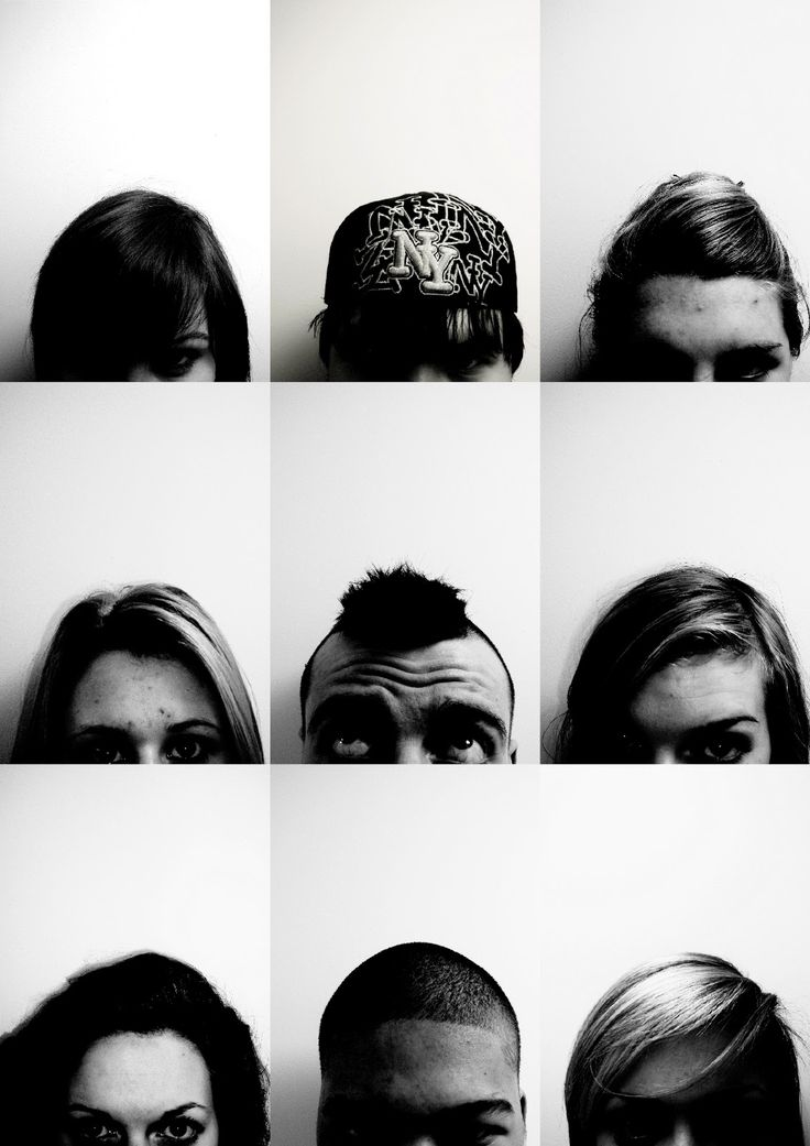 Typology using different foreheads and hair styles