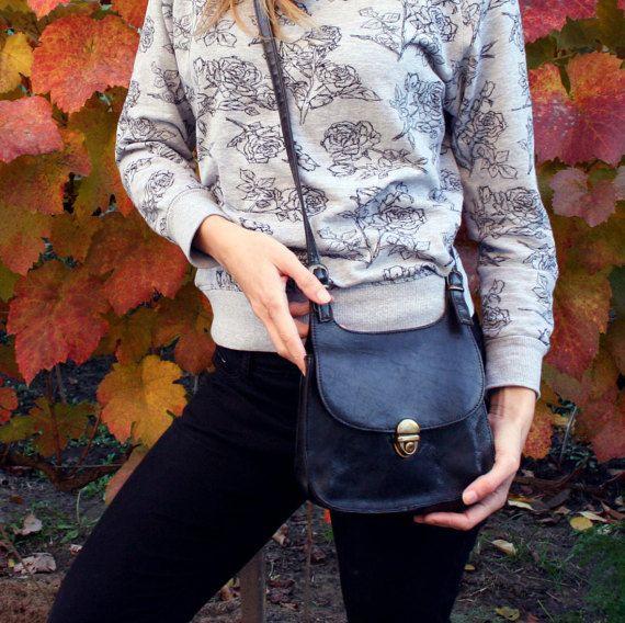 Vintage black leather crossbody bag black by TaylorGirlsShop