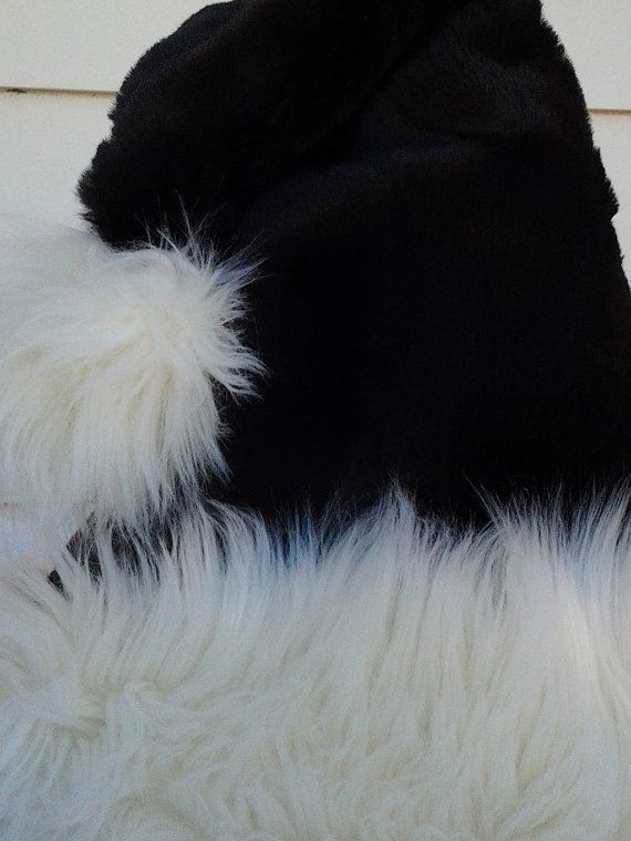 Sexy black Santa hat with shaggy white trim with by OriginalsByEva