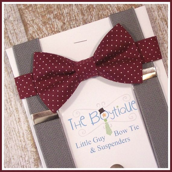Burgundy pin dot bow tie with grey suspenders. The perfect winter-wedding ring bearer accessory! Upon availability, you may also choose navy,