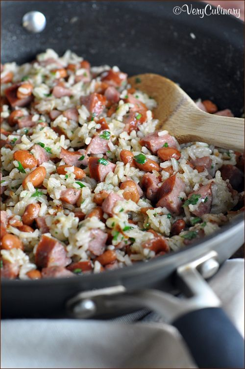 Rice, pinto beans, and smoky pork kielbasa is combined for a delicious and quick skillet meal!