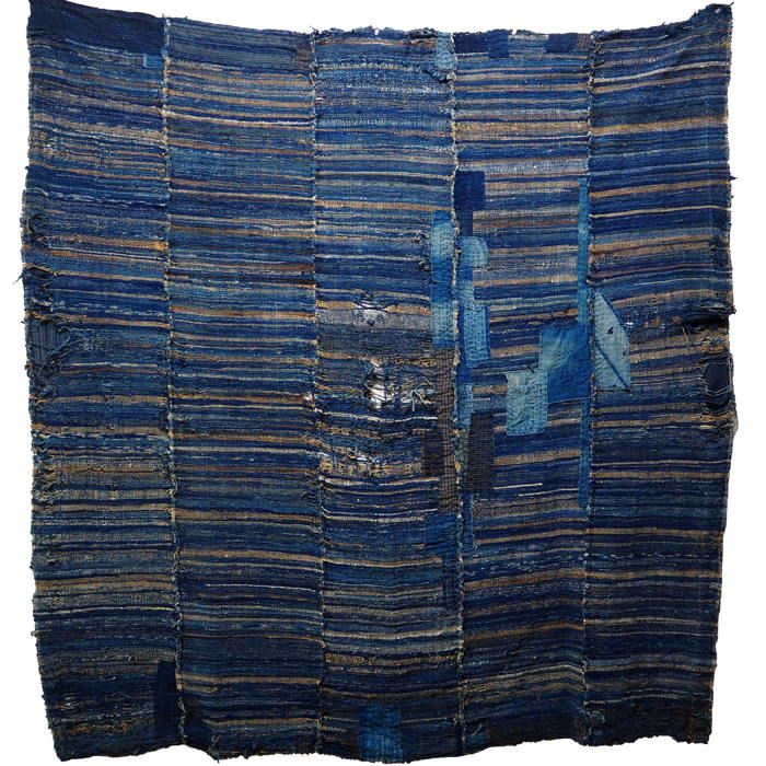 Antique Japanese Indigo Cotton Boro Sakiori Jutan Carpet