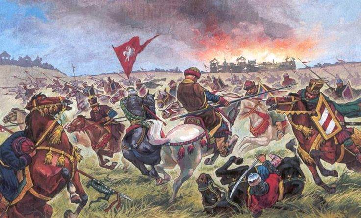 Cavalry charge between Russian and Polish troops