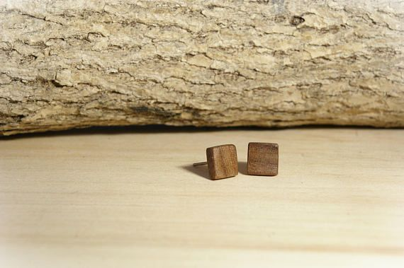 Love the simplicity in these walnut square earring studs - make an impression with simplicity.  More available in maple, and oak. Click on the image to see this and other designs!