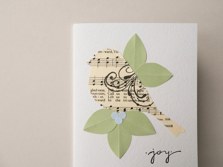 Sing for Joy greeting card with hand cut bird from by newnanc, $4.25