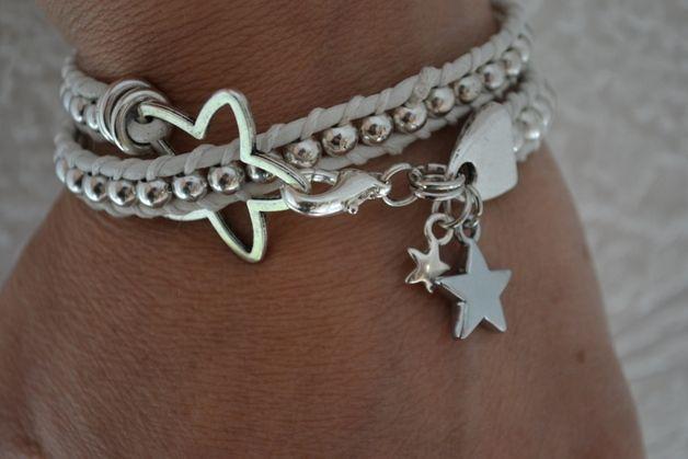Wickelarmbänder - Lederarmband Sterne weiß - ein Designerstück von Design-by-Schio bei DaWanda