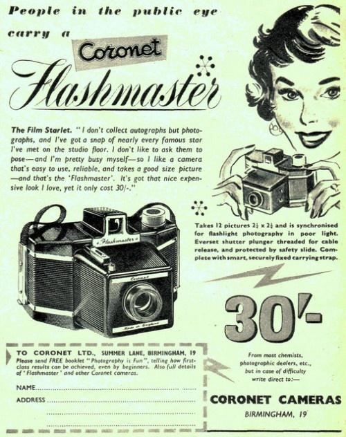 Coronet FlashmasterVintage Posters, Cameras Vintage, Vintage Cameras, Coronet Flashmast, Vintage Photography, Cameras Advertis, Vintage Ads, Cameras Ads, Vintage Advertising